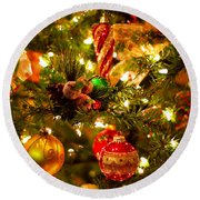 Christmas Tree Background Round Beach Towel