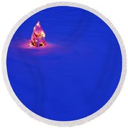 Christmas Tree Covered In Snow Round Beach Towel