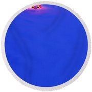 Christmas Tree Covered In Snow.tif Round Beach Towel