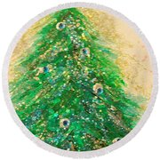 Christmas Tree Gold By Jrr Round Beach Towel