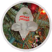 Christmas Tree Mouse Round Beach Towel