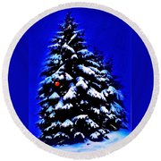 Christmas Tree With Red Ball Round Beach Towel