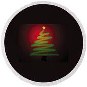 Christmas Tree With Star Round Beach Towel