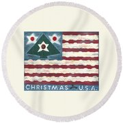 Christmas U.s.a. Round Beach Towel