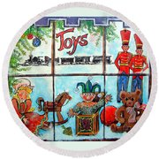 Christmas Window Round Beach Towel