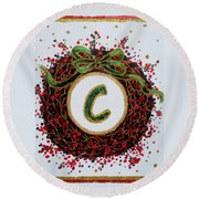 Christmas Wreath Initial C Round Beach Towel