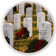 Christmas Wreaths Laid At The Arlington Cemetery Round Beach Towel