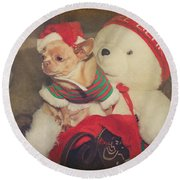 Christmas Zoe Round Beach Towel by Laurie Search