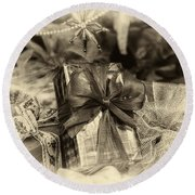 Christmasgift Under The Tree In Sepia Round Beach Towel