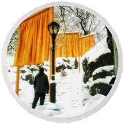 Christo - The Gates - Project For Central Park In Snow Round Beach Towel