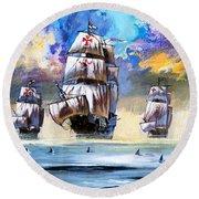 Christopher Columbus's Fleet  Round Beach Towel