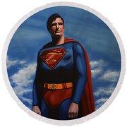 Christopher Reeve As Superman Round Beach Towel by Paul Meijering