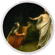Christs Appearance To Mary Magdalene After The Resurrection Round Beach Towel