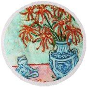 Chrysanthemum And Frog Round Beach Towel