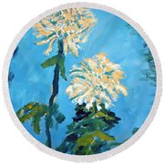 Chrysanthemum Floral Round Beach Towel