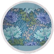 Chrysanthemums In Blue Round Beach Towel