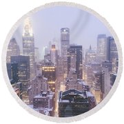 Chrysler Building And Skyscrapers Covered In Snow - New York City Round Beach Towel