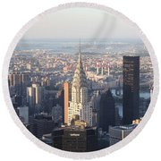 Chrysler Building From The Empire State Building Round Beach Towel