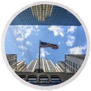 Chrysler Building Reflections Horizontal Round Beach Towel