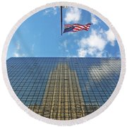 Chrysler Building Reflections Vertical 1 Round Beach Towel