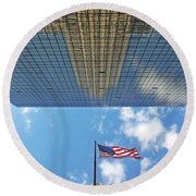 Chrysler Building Reflections Vertical 2 Round Beach Towel