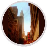 Chrysler Building Rises Above New York City Canyons Round Beach Towel