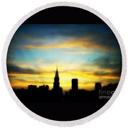 Chrysler Skyline With Incredible Sunset Round Beach Towel