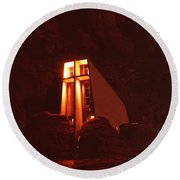 Chapel At Night Round Beach Towel
