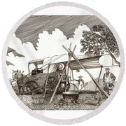 Chuckwagon Cattle Drive Breakfast Round Beach Towel
