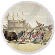 Chulos Playing The Bull, 1865 Round Beach Towel
