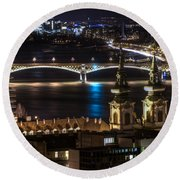 Church And Bridge Round Beach Towel