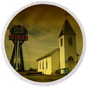 Church And Casino Those Two Angels  Round Beach Towel