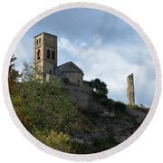 Church And Castle In Puente De Montanana  Round Beach Towel