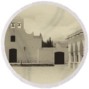Church And Courtyard Argentina Round Beach Towel