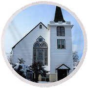 Paramus Nj - Church And Steeplechurch And Steeple Round Beach Towel