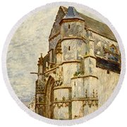 Church At Moret After The Rain Round Beach Towel