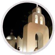 Church At Night In Playa Del Carmen Round Beach Towel