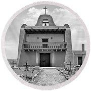 Church At San Ildefonso - Bw Round Beach Towel