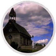 Church At The Okeefe Ranch Round Beach Towel