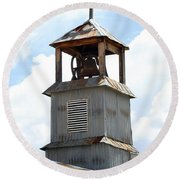 Church Bell Tower In Truchas In New Mexico Round Beach Towel