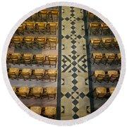 Church Chairs Round Beach Towel