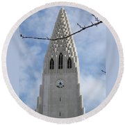 Church Clocktower Round Beach Towel