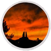 Church Cross Lit By Tucson Sunset Round Beach Towel