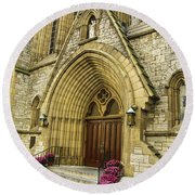 Church Door Round Beach Towel