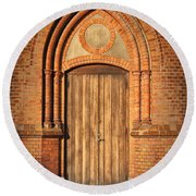 Church Door Helsingborg Round Beach Towel