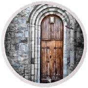 Church Door Killala Ireland Round Beach Towel