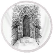English Church Door Round Beach Towel
