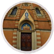 Church Entrance. Palazzolo Round Beach Towel