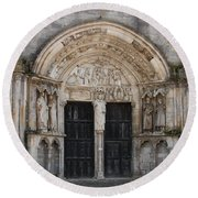 Church Entrance - St  Thibault Round Beach Towel