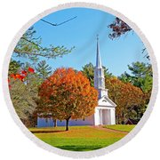 Church In Autumn Round Beach Towel